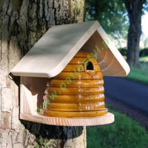 Ceramiczne siedlisko dla ptaków lub pszczół ze ściennym uchwytem i dachem [CBN2]