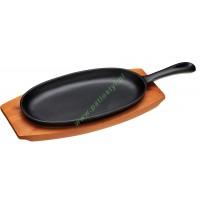 Patelnia żeliwna podłużna z deską do serwowania / Kitchen Craft