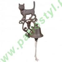 Dzwonek żeliwny do drzwi z kotem