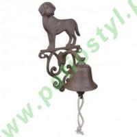 Dzwonek żeliwny do drzwi z psem