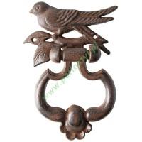 Kołatka żeliwna do drzwi z ptakiem, dzwonek do drzwi