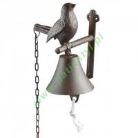 Dzwonek żeliwny do drzwi z ptakiem