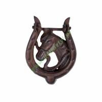 Kołatka żeliwna do drzwi podkowa z koniem