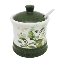 Ceramiczna cukiernica z pokrywką i łyżeczką