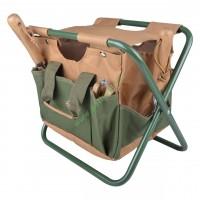 Stołek ogrodowy składany z torbą na narzędzia