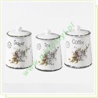 Zestaw ceramicznych pojemników na cukier, kawę, herbatę