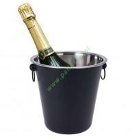 Wiaderko stalowe, czarne, na lód, butelkę, szampana, wino